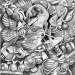 Pencil illustration of toy birds