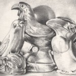 Pencil drawing of two plastic bird whistles with ceramic salt shaker