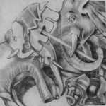 Pencil drawing of toy elephants