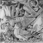 Pencil drawing of ceramic and metal bird figurines