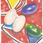 Coloured pencil drawing of jelly beans