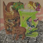 Coloured pencil drawing of wooden elephant and realated ephemera