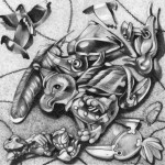 Pencil drawing of toys and bird-related ephemera