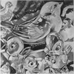 Pencil drawing of ceramic bird figurines