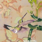 Coloured pencil drawing of hummingbird in interior with wallpaper